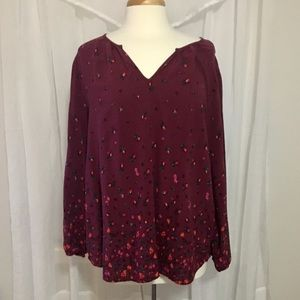 Old Navy maroon floral top size XL
